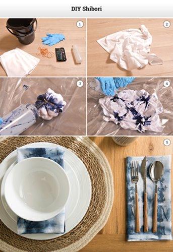 Shibori tie-dye napkins